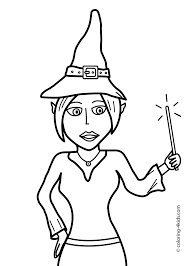 Easy Halloween Coloring Pages by Halloween Witch With Wand Coloring Pages For Kids Printable Free