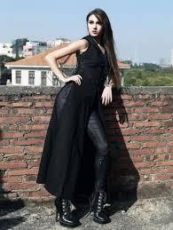 black sleeveless hooded gothic trench coat for women devilnight