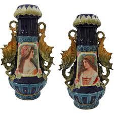 austrian vases antique pair large austrian majolica portrait vases winged dragon handles