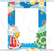 clipart snowy christmas tree frame and santa carrying gifts