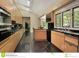 plancher cuisine cuisine avec le plancher tacheté noir image stock image du décorez