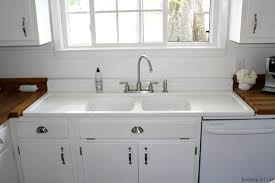 Kitchen With Farm Sink - remodelaholic country kitchen with diy reclaimed wood countertop