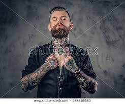 studio portrait bearded hipster man tattoos stock photo 587916920