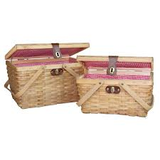 Picnic Basket Set For 2 Quickway Imports Gingham 2 Piece Lined Wood Picnic Baskets Set