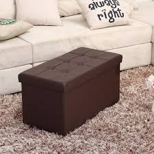 Leather Storage Ottoman Bench Leather Folding Storage Ottoman Bench