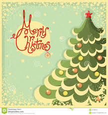 vintage christmas paper vintage christmas card with tree and text stock vector