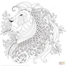 zentagle lion with floral elements coloring page free printable