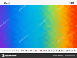 simple color calendar of colored triangles for march for the year