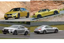 lexus vs bmw video lexus rc f vs bmw m4 coupe which is the best four seater sports car
