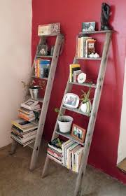 White Wall Bookcase by Rustic Ladder Bookcase With Red And White Wall Paint Color Ideas