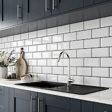 b q kitchen wall cabinets white wickes metro white ceramic wall tile 200 x 100mm