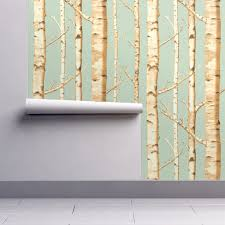 Birch Home Decor Birch Grove In Sunshine Wallpaper By Willowlanetextiles Roostery