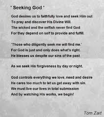 Seeking About Seeking God Poem By Tom Zart Poem