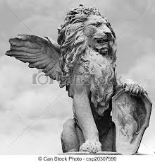 lion statue venetian lion sculpture isolated on sky asolo veneto stock