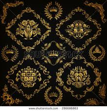 set gold damask ornaments floral elements stock vector 684800437