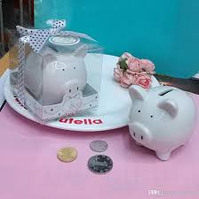 piggy bank favors ceramic mini piggy bank in gift box with polka dot bow coin box