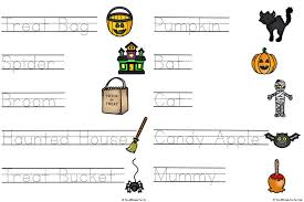 halloween words read trace and connect worksheets simple fun