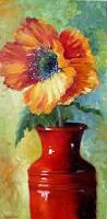 Vase With Red Poppies Red Poppy Flower In Bright Red Vase By Chatterboxart Via Etsy