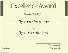 special certificate award for excellence with ribbon