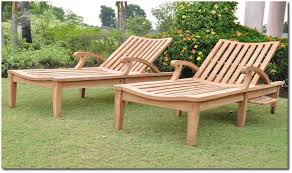 Patio Furniture Lounge Chair Furniture Chaise Lounge Teak Outdoor Furniture With Cream Cushion