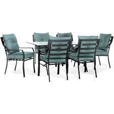 Blue Dining Set by Hanover Lavallette Black Steel 7 Piece Outdoor Dining Set With