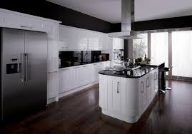 black gloss kitchen ideas astounding white black colors fitted kitchen come with rectangle