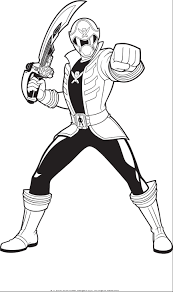 power rangers holding sword power rangers coloring pages
