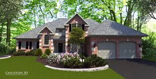 castleview 3d rendering of a traditional brick home with classic