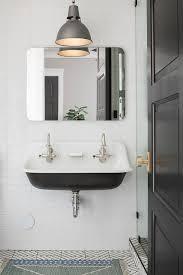 Kids Bathroom Colors Black And White Kids Bathroom With Black Tiled Baseboards