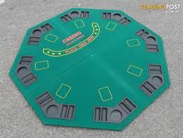 poker table top and chips fold out poker table top sits 8 people with chip and card set