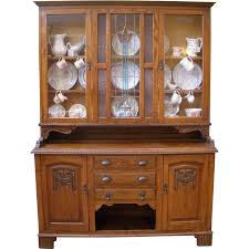 Vintage China Cabinets Large Antique China Cabinet English Carved Oak Stained Glass