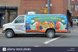 truck van truck van for the satmar meat store with yiddish writing in the