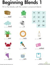beginning blends 1 worksheets worksheets for kids and free