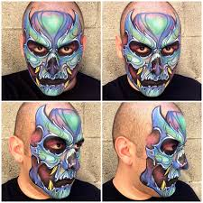 blue skull face painting used kryolan aquacolor face