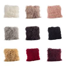 mongolian lamb fur throw pillow free shipping today overstock