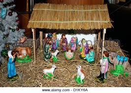 nativity of jesus birth in an cottage stock