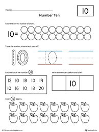 number 10 worksheet number ten writing counting and identification