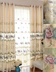 glass door curtains in luxurious embroidery floral patterns