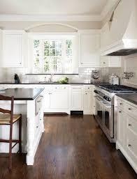 white backsplash kitchen grey floor tile white marble hanging l plaid orange and grey