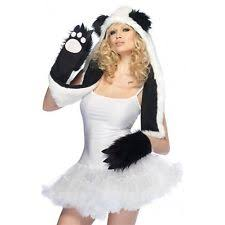 Panda Bear Halloween Costume Plush Panda Hood Paw Scarf Rave Party Clubwear Leg Avenue