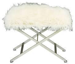benzara metal fur stool white 25