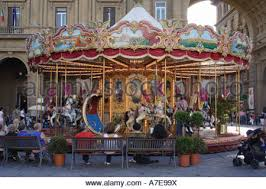 children s carousel florence italy beautiful gold ornaments stock