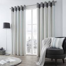 stylish living room teal beige dark blue striped curtains within