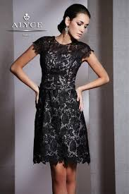 black lace dress alyce black label 5505 sophisticated cap sleeve lace cocktail