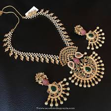 gold stones necklace designs images One gram gold stone necklace from rs designs south india jewels jpg