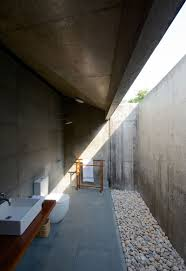 Open Bathroom Design by Architecture Smart Bathroom Design With Half Open Roof And Gravel