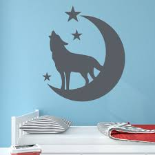 wolf with moon and stars wall decal wall sticker home decor image is loading wolf with moon and stars wall decal wall