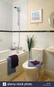 show home interior modern fitted tiled bathroom stock photo