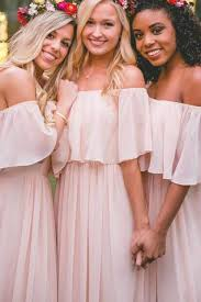 pastel pink off the shoulder chiffon floor length bridesmaid dress