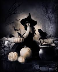 a halloween bat with a dark background gorgeous witch in the forest with her trusted black cat and bats